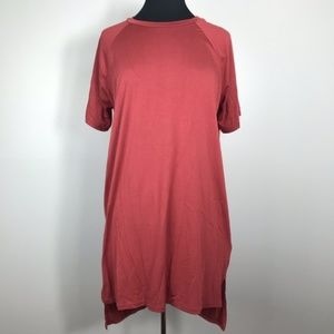Cover Stitched Rust Coral T Shirt Dress Size M